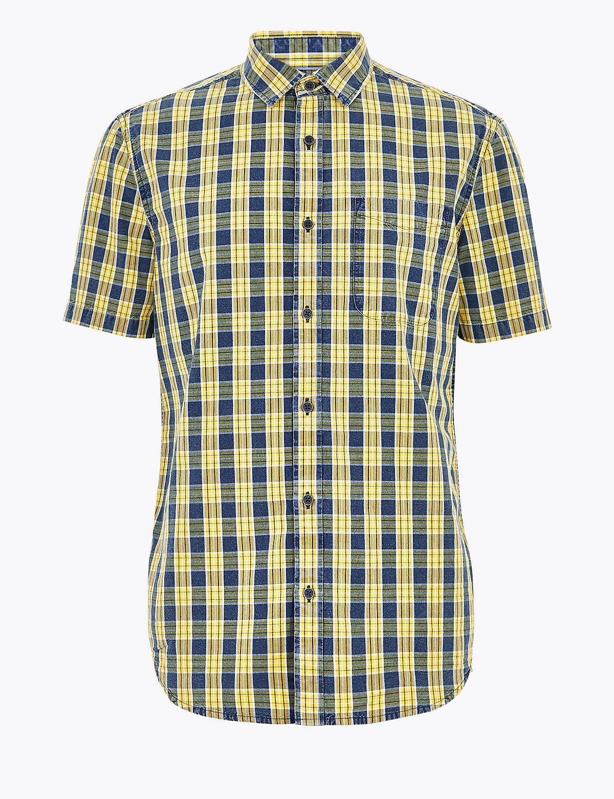 Рубашка в клетку из чистого хлопка с коротким рукавом