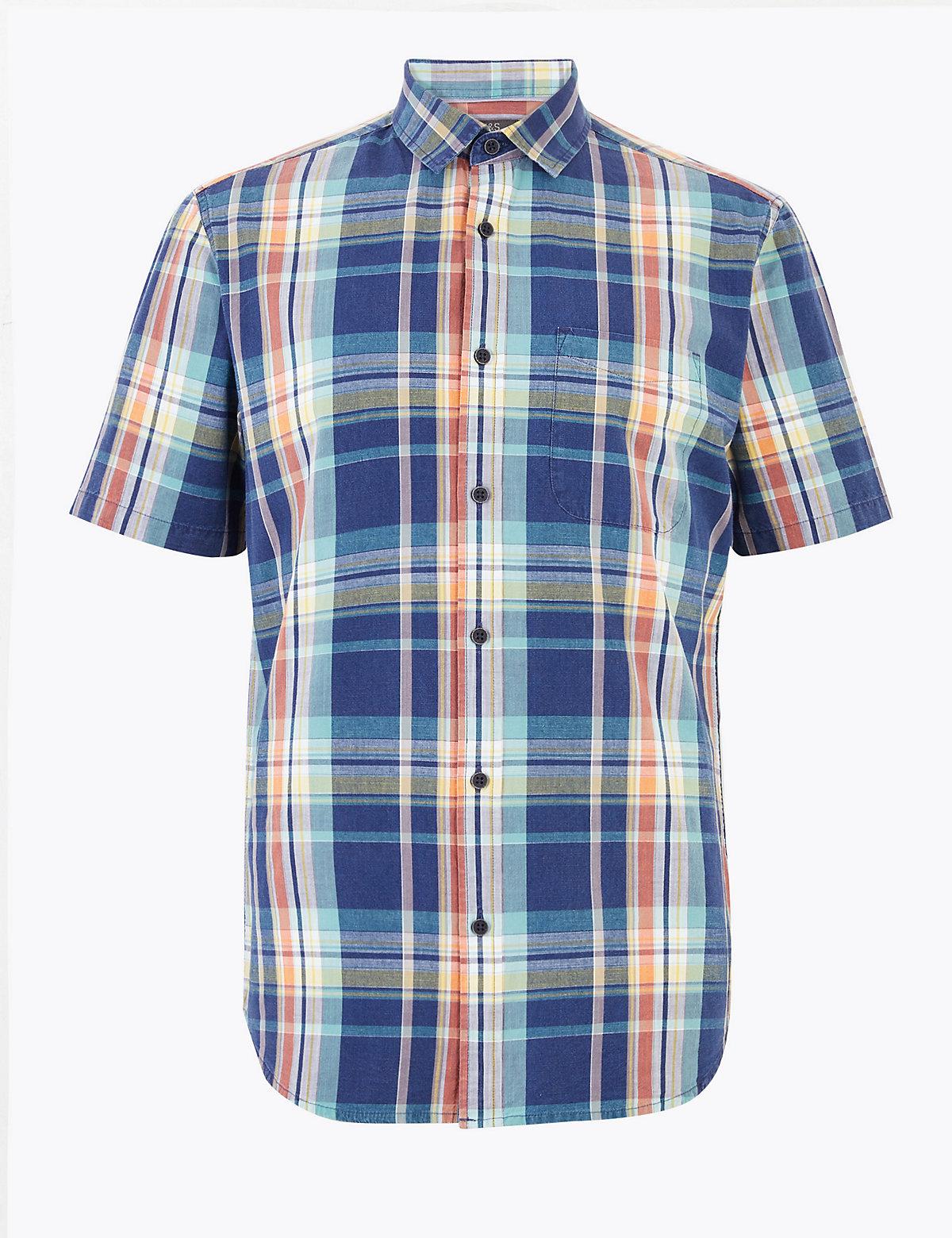 Хлопковая мужская рубашка в крупную клетку