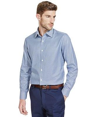 Pure Cotton Tailored Fit Textured Shirt, DARK MIDNIGHT, catlanding
