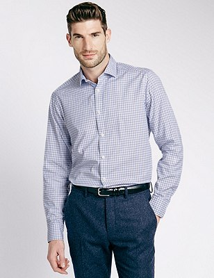 Pure Cotton Tailored Fit Textured Check Shirt, CHAMBRAY MIX, catlanding
