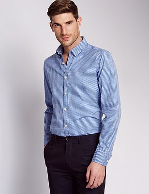 Italian Fabric Pure Cotton Tailored Fit Shirt, BLUE, catlanding