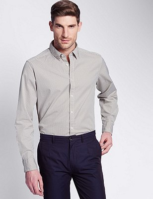 Italian Fabric Pure Cotton Tailored Fit Shirt, NATURAL, catlanding