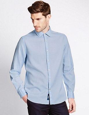 Italian Fabric Pure Cotton Tailored Fit Shirt, BLUE, catlanding