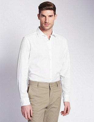 Italian Fabric Pure Cotton Tailored Fit Shirt, WHITE, catlanding