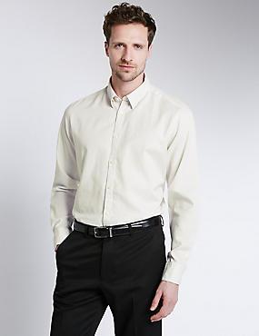 Italian Fabric Pure Egyptian Cotton Tailored Fit Shirt, LIGHT TAUPE, catlanding