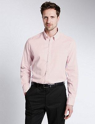 Italian Fabric Pure Egyptian Cotton Tailored Fit Shirt, TEA ROSE, catlanding
