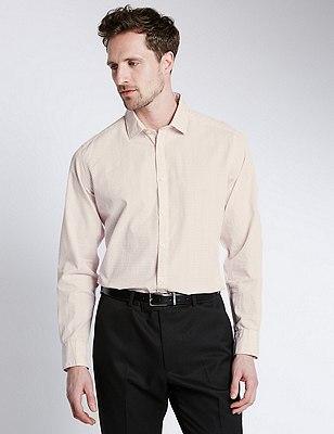 Italian Fabric Pure Cotton Tailored Fit Shirt, TEA ROSE, catlanding