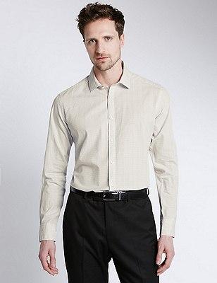 Italian Fabric Pure Cotton Tailored Fit Shirt, GREY, catlanding