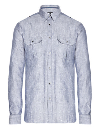 Linen Blend Slim Fit Military Chambray Shirt Clothing