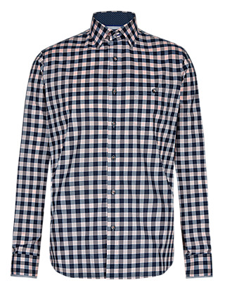 Supima® Cotton Tailored Fit Checked Shirt Clothing