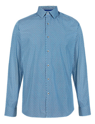 Supima® Cotton Slim Fit Mini Diamond Print Shirt Clothing