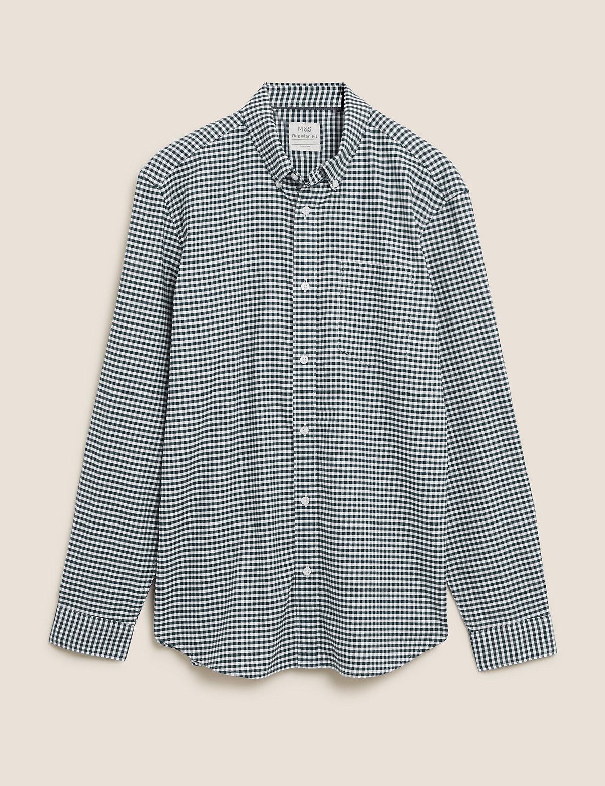 Оксфордская рубашка из чистого хлопка в мелкую клетку