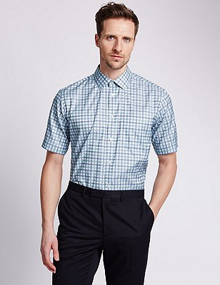 Pure Cotton Short Sleeve Checked Shirt, JADE, catlanding