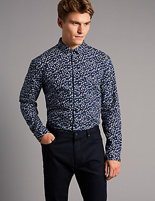 Italian Fabric Slim Fit Printed Shirt, MEDIUM NAVY, catlanding