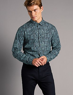 Italian Fabric Slim Fit Printed Shirt, MULTI, catlanding