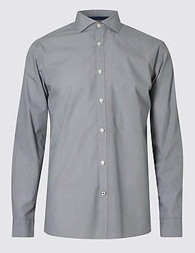 Italian Fabric Pure Cotton Tailored Fit Textured Shirt, CARBON, catlanding