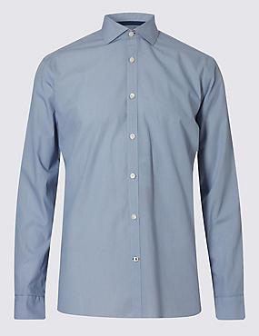 Italian Fabric Pure Cotton Tailored Fit Textured Shirt, INDIGO, catlanding
