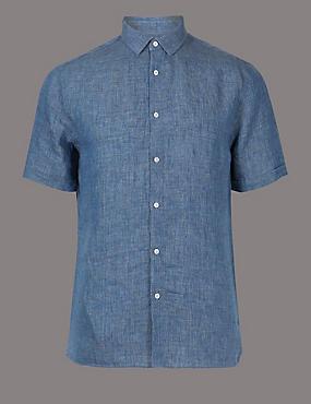 Luxury Pure Linen Slim Fit Shirt, DARK BLUE, catlanding