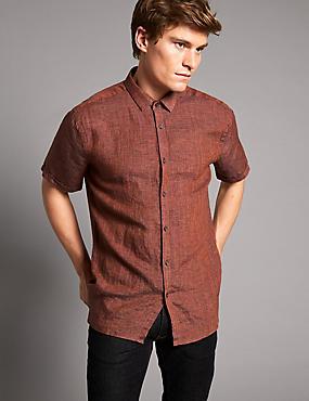 Luxury Pure Linen Slim Fit Shirt, BURNT ORANGE, catlanding