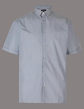 Pure Cotton Slim Fit Printed Shirt, NAVY MIX, catlanding