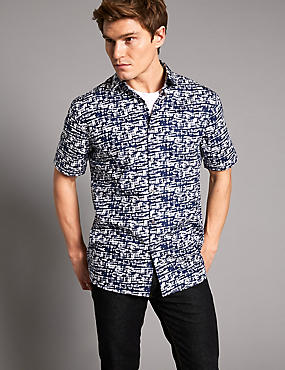 Pure Cotton Printed Shirt, INDIGO MIX, catlanding
