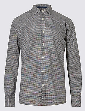 Italian Fabric Pure Cotton Maze Checked Shirt, KHAKI, catlanding