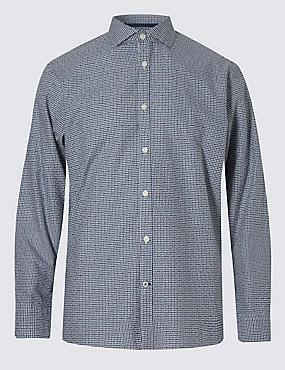 Italian Fabric Pure Cotton Maze Checked Shirt, INDIGO, catlanding