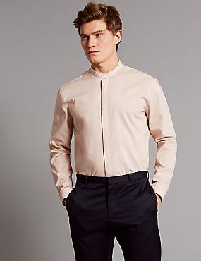 Luxury Pure Cotton Slim Fit Shirt , DUSKY ROSE, catlanding