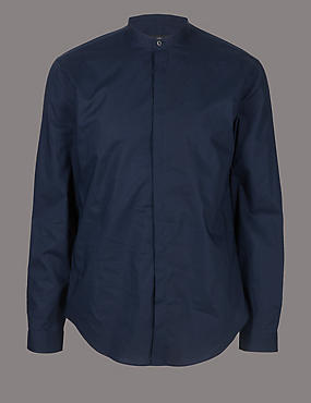 Luxury Pure Cotton Slim Fit Shirt , NAVY, catlanding