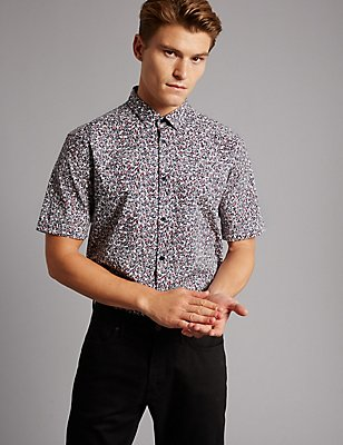 Supima Cotton Slim Fit Printed Shirt, BLACKCURRANT, catlanding