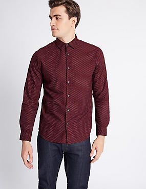 Pure Cotton Slim Fit Printed Shirt, CRANBERRY, catlanding