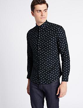 Pure Cotton Slim Fit Printed Oxford Shirt, DARK MIDNIGHT, catlanding