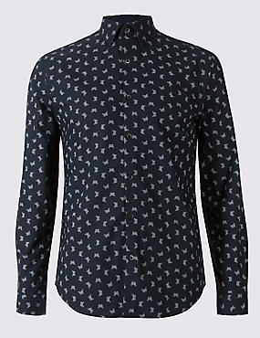 Pure Cotton Slim Fit Printed Oxford Shirt, DARK MIDNIGHT, catlanding