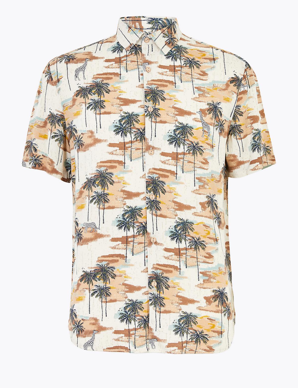 Мужская рубашка из вискозы с принтом