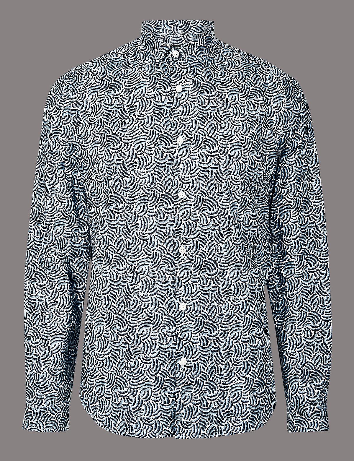 Рубашка хлопковая с завитками Slim Fit, технология Supima®