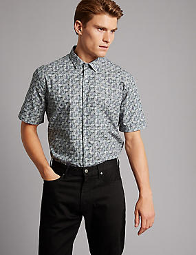 Pure Cotton Slim Fit Printed Shirt, DARK TEAL, catlanding