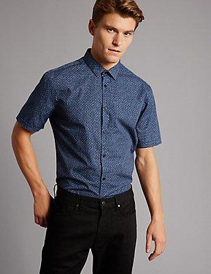 Pure Cotton Slim Fit Printed Shirt, DARK KINGFISHER, catlanding