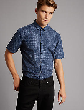 Pure Cotton Slim Fit Printed Shirt, DARK KINGFISHER, catlanding