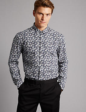 Pure Cotton Slim Fit Printed Shirt, BLACKCURRANT, catlanding