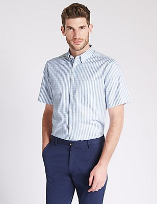 Pure Cotton Striped Shirt with Pocket, MEDIUM BLUE, catlanding