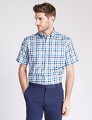 Pure Cotton Checked Shirt with Pocket, MEDIUM BLUE, catlanding