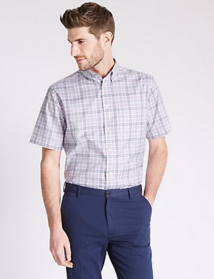 Pure Cotton Checked Shirt with Pocket, PINK FIZZ, catlanding