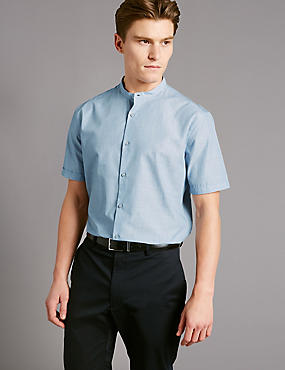 Pure Cotton Slim Fit Shirt, CHAMBRAY, catlanding