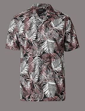 Schmal geschnittenes Hemd aus reiner Baumwolle mit Druckdetails, HELLBRAUN, catlanding