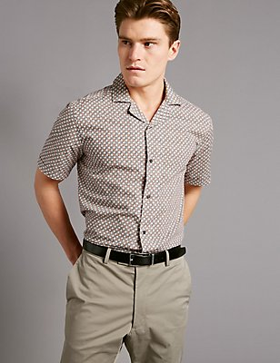 Pure Cotton Slim Fit Printed Shirt, NEUTRAL, catlanding