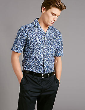 Pure Cotton Slim Fit Printed Shirt, BLUE MIX, catlanding