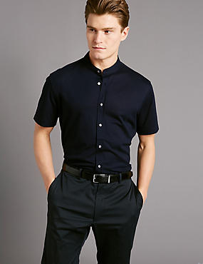 Pure Cotton Slim Fit Textured Shirt, NAVY, catlanding