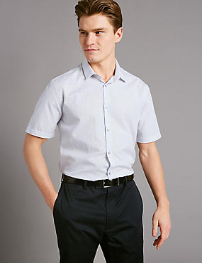 Pure Cotton Slim Fit Textured Shirt, WHITE MIX, catlanding