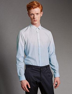 Luxury Pure Cotton Slim Fit Dip Dye Shirt, BLUE MIX, catlanding