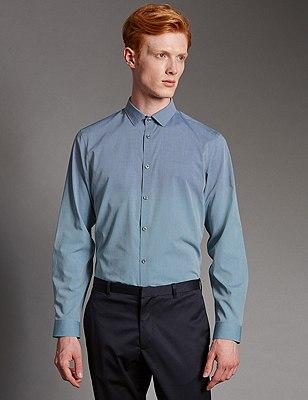 Luxury Pure Cotton Slim Fit Dip Dye Shirt, PALE BLUE, catlanding